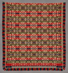Leonard Metz (1810–ca. 1885)Coverlet, Wool and cotton; 8 ft. 5 in. × 94 in. (256.5 × 238.8 cm)The Metropolitan Museum of Art, New York, 2014 (2014.693.3)