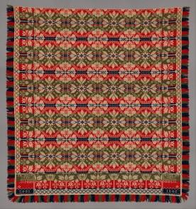 Leonard Metz (1810–ca. 1885)Coverlet, Wool and cotton; 8 ft. 5 in. × 94 in. (256.5 × 238.8 cm)The Metropolitan Museum of Art, New York, 2014 (2014.693.3)