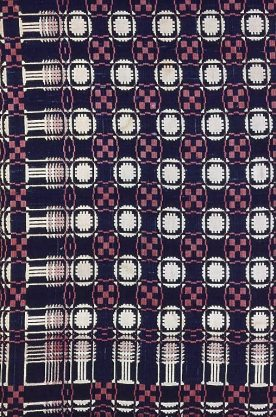 Virginia (1825), Coverlet, Cotton and wool, plain weave double cloth; woven on loom with Jacquard attachment; two loom widths, 75 1/2 x 69 1/2 in., Art Institute of Chicago., Chicago. 1996.116